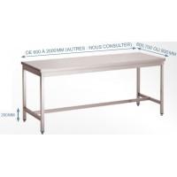 Table inox soudée bords droits pieds carrés