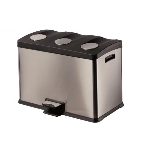 Poubelle inox p dale pour tri s lectif - Poubelle cuisine pedale 30 litres ...