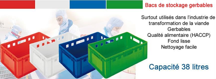 Bac alimentaire euronorm de couleur rouge, bleu vert et blanc capacité 38 litres