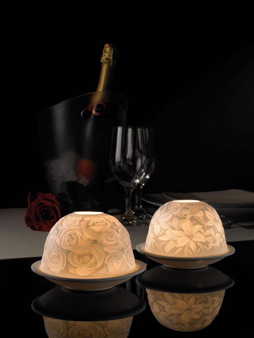 bougies en porcelaine pour tables de restaurant romantique