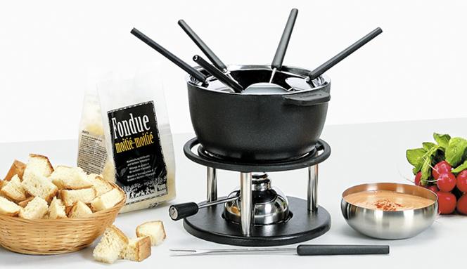 Caquelon pour fondue bourguignonne avec couvercle - Appareil a fondu en fonte ...