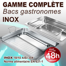 Bacs gastronormes inox 304