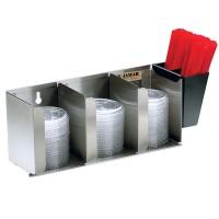 Distributeurs de couvercles et de pailles 3 compartiments