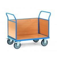 Chariot de manutention avec 3 ridelles en mélaminé 500 ou 600 kg