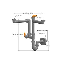 Siphon Standard Pour 2 Cuves Max. 705Mm - 2 Raccords Lave-Vaisselle
