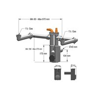 Siphon Nettoyable Pour 2 Cuves Max. 705Mm - 2 Raccords Lave-Vaisselle