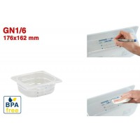 Bacs GN1/6 pour stockage alimentaire 176 x 162 mm