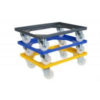 Chariot pour bacs avec 4 roues pivotantes et fourches polyamides